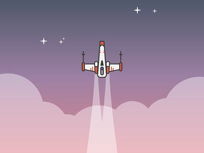 Epic Space Journey illustration movies star wars starwars xwing x wing x-wing starship