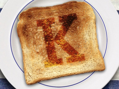 Toasted K k toast burned food letter typography type alphabet table