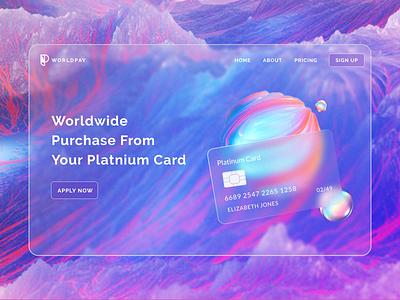 WorldPay Landing Page glassmorphism website uiux ux modern gradient figma ui web photoshop design designer creative dailyui dribble shot dribbleartist