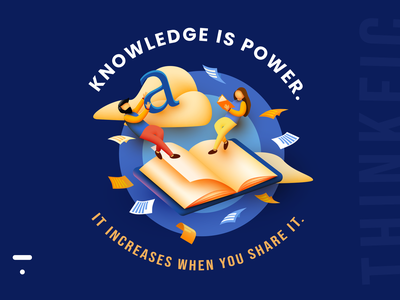 "The Thinkific ""Knowledge is power. Share it."" design challenge! dribbble flat graphic design branding blue simple typography yellow web challenge education ui vector illustrator illustration photoshop design designer dailyui creative"
