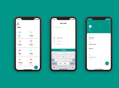 Todo app screens (mobile view)