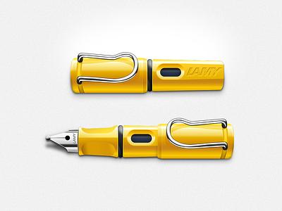 yellow LAMY pen icon cute realistic icon pen lamy