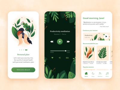 Meditation app onboarding ui meditate ios home ux ui bird illustration illustration mobile illustration relaxing meditation app meditation mobile