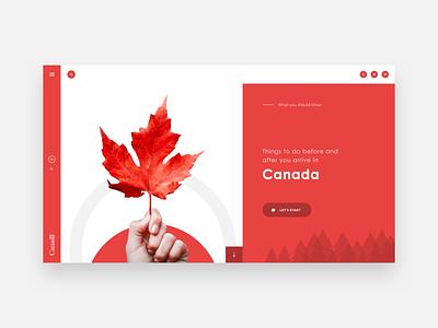 UI Design - Canadian Citizenship red website canada website canada design website concept illustration creative ui design trends graphic design landing page website ux design ui design