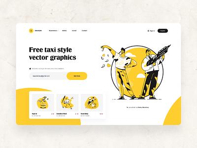 Taxi Style Illustrations Webpage Design black and yellow ux design ui design ui ux design sprint webpage design web design