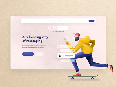 Messaging Platform - Webpage Design broceta-kristina ui graphic design website concept illustration ui ux landing page inspiration website ux design ui design
