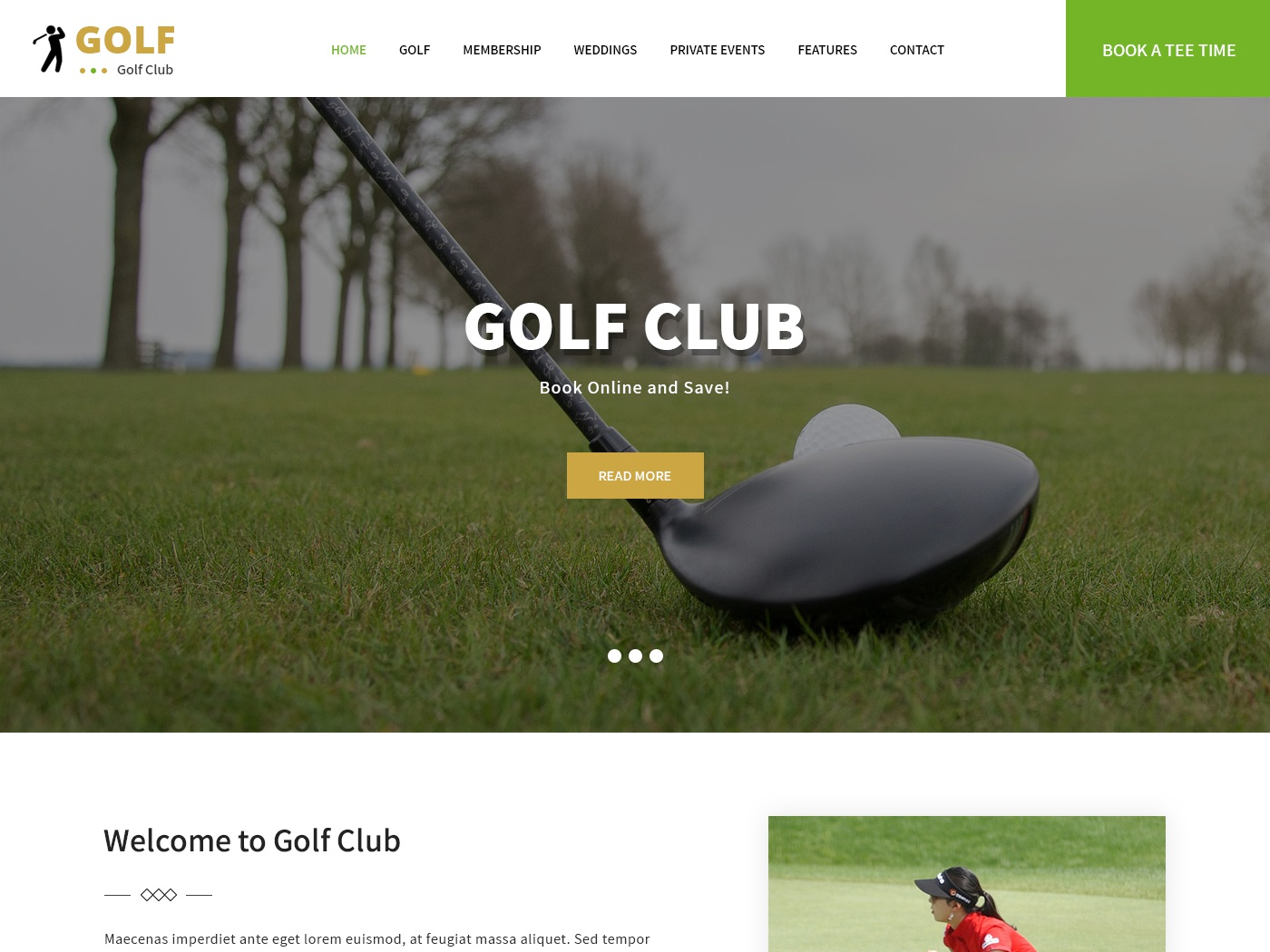 Golf Course Website Template by WP Themes on Dribbble
