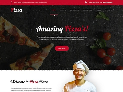 Restaurant, Fast Food, Takeaway Pizza Website Template