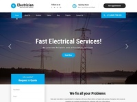 Electrician, Electricity Services WordPress Website Template