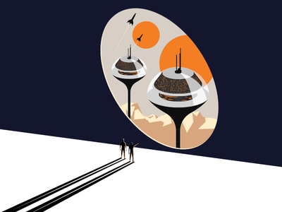 Original Decentraland's landing illustration btc eth bitcoin ethereum ico retrofuture illustration blockchain decentraland