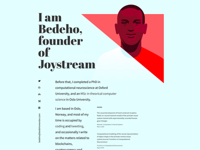 Bedeho's personal lading page layout composition light blue red personal website personal branding crypto bitcoin bedeho