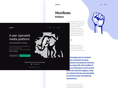Joystream website design bitcoin illustration blockchain web manifesto joystream elephant landing website