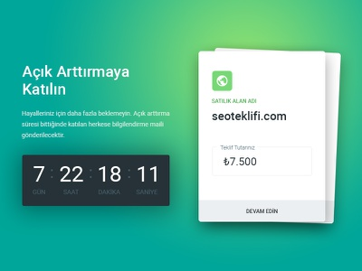 Domain sale with auction - Landing page form design card step countdown sell domain auction seo ui ux user experience user interface material design