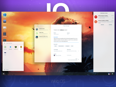 IO Web OS - Light Theme user interface user experience application website ubuntu linux windows mac os mac window ux ui concept web os os web