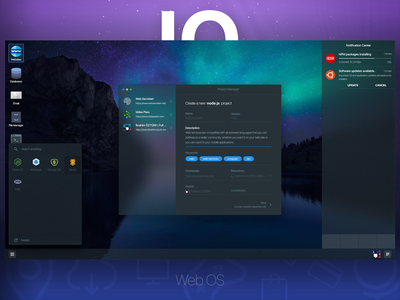 IO Web OS - Dark Theme user interface user experience application website web os web os concept ui ux window mac mac os windows linux ubuntu