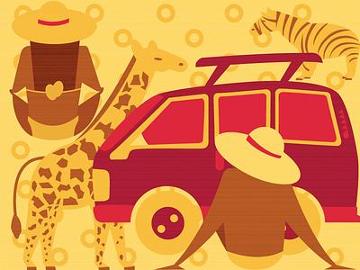 Safari vector illustrator flat illustration