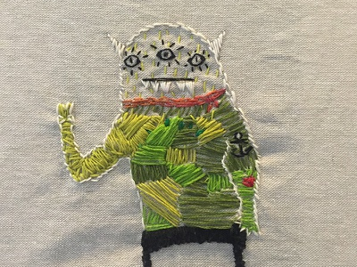 Embroidered Triclops Monster embroidery monsters