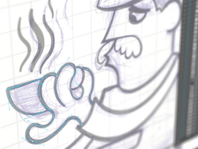 Gérard vectors cafe coffe eppz illustration vector paris ipad closeup bezier