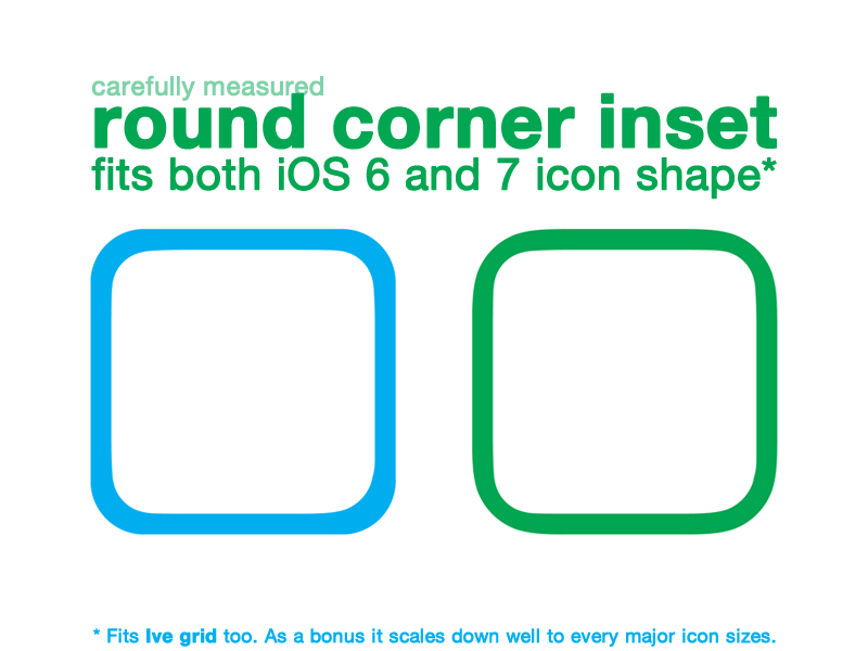 Rounded corner inset fits both iOS 6 and iOS 7 icon shape* eppz icon inset inner stroke rounded corner chamfer app ios ios 6 ios 7 ui