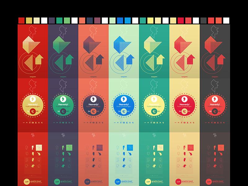 Color scheme design for tangram! puzzle game mobile game game ui game design app store ux ui tangram puzzle ios game eppz