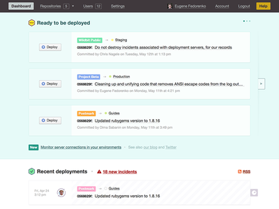 A new dploy.io dashboard deployment activity dashboard dploy