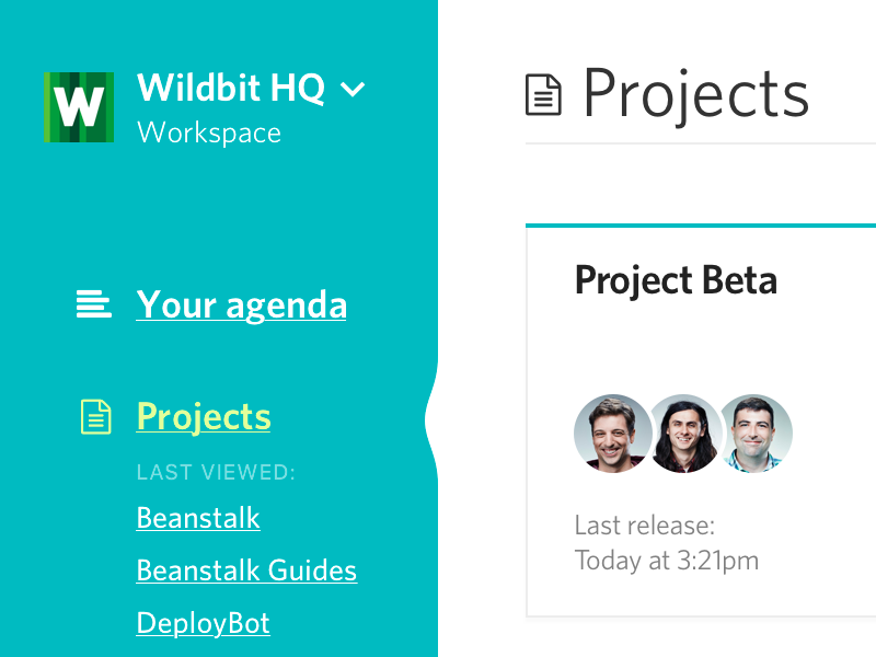 Projects screen cards menu projects sidebar webapp