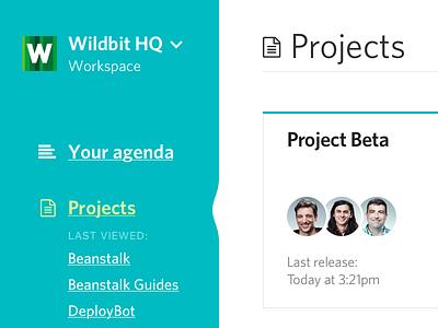 Projects screen cards menu projects sidebar webapp