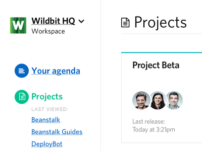 Projects screen clean white whitespace cards menu projects sidebar webapp