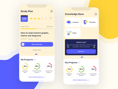 Prepare for Tests App «PerfectPrep» ios answer questions slider mobile app app design clean progress bar study knowledge education learning calendar card illustraion icon chart test mobile app