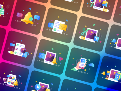 Illustrations for Photo Editing App «Pixomatic» like group set gradient flat bell cloud user hand icon ui chat pencil mail style visual branding colors illustration clean