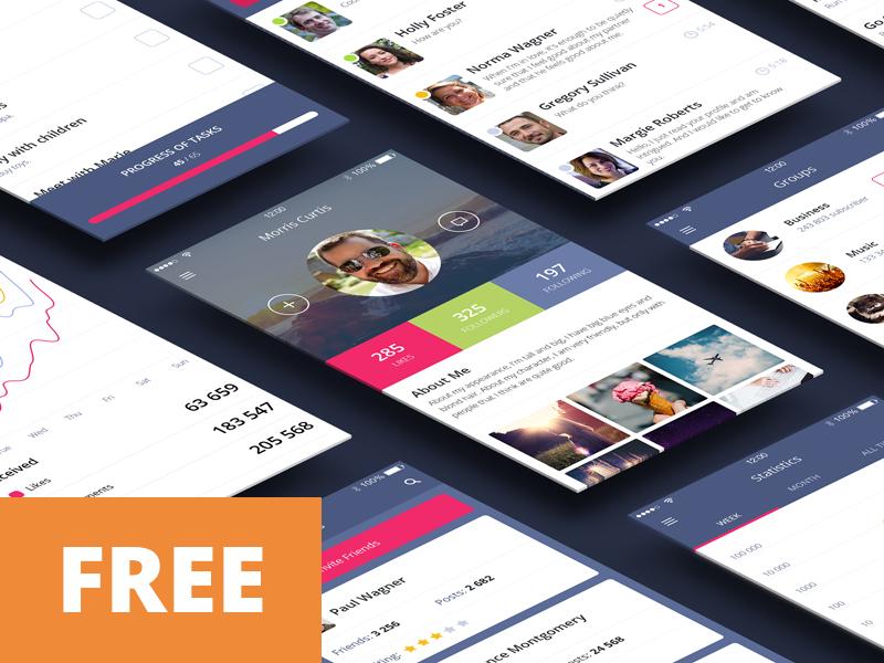 Free UI Kit (psd) e-commerce flat download psd kit ux ui free