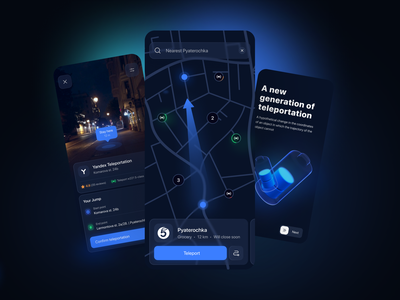 Teleportation app concept glow night mobile ui minimal booking taxi scooter product design futuristic dark future mobile ios app app ux teleport ui map