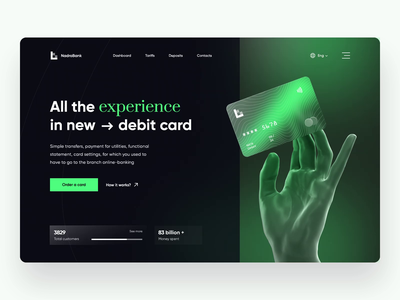 Finance Landing Page web app financial services banking website finance mobile banking product page financial technology design ux ui landing bank bank app card hand payment banking credit card wallet