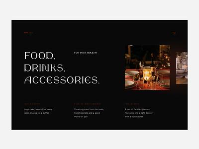 Food. Drink. Accessories. website minimal web ux ui design