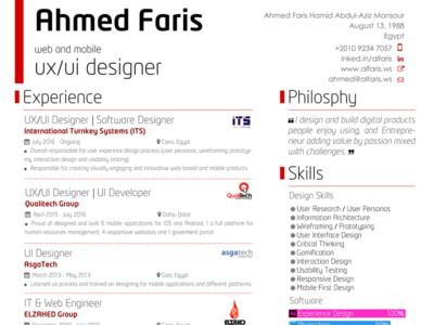 Personal Resume UX/UI Designer design personal resume ui ux designer