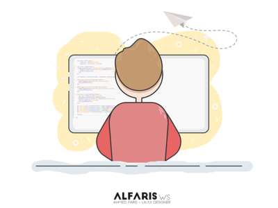 Coding illustration geek guy coding illustrate