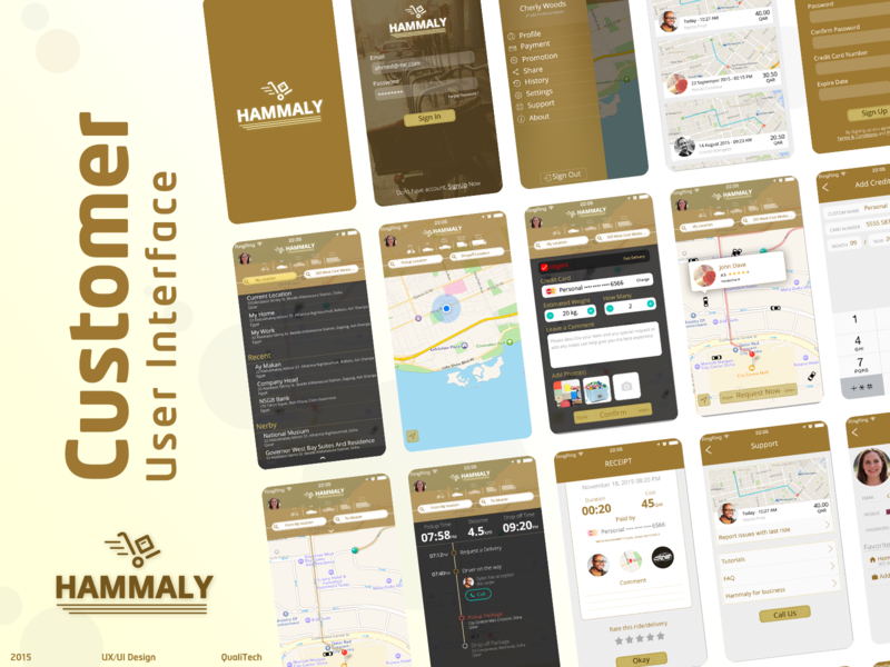 Hammaly - Delivery and shipping bike truck delivery truck delivery ahmed faris flow mobile user interface uber clone shipper transportation mobile design mobile ui vector app ux illustration ui design