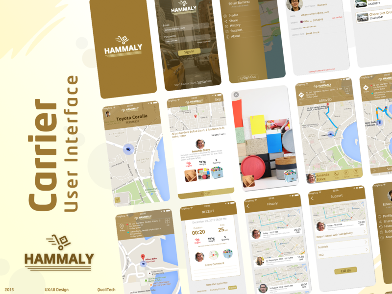 Hammaly - Delivery and shipping (Carrier) shipping transportation uxdesign uidesign mobile ux mobile ui mobile vector ahmed faris illustrate app ux ui design