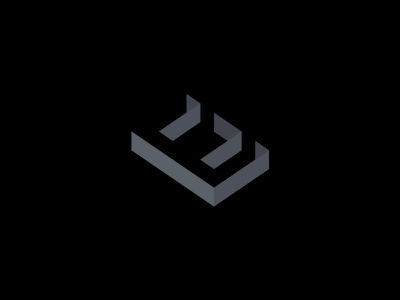 E negative space marketing brand monogram identity logo
