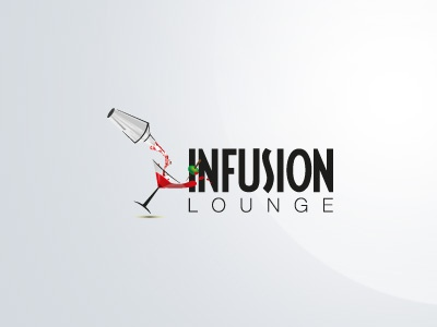 Infusion Lounge restaurant bistro food dining lounge logo brand brandmark logotype design. infusion drink club entertainment icon martini cocktail olive drinks cheers