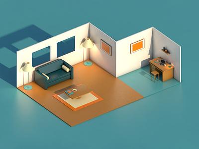 3D Flat Room Rendering design 3d art 3d