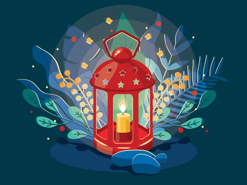At night in the garden vector design illustration