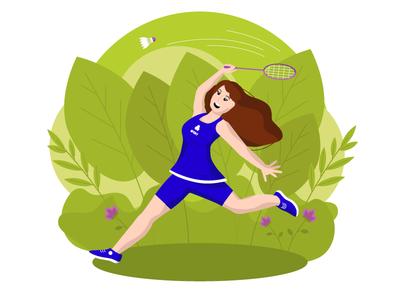 badminton girl vector design illustration