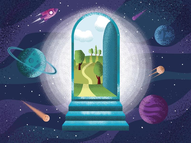 The door into summer vector design illustration
