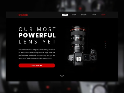 Daily UI 003 - Landing Page learn more camera canon daily ui landing page daily ui 003 ui