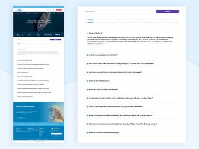 FAQ Page cruise travel desktop ux ui faq