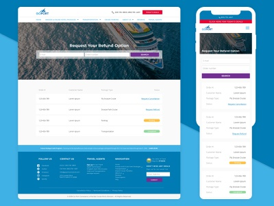 Cancellation / Order Status Page cruise travel order status mobile app desktop design cancellation ux ui