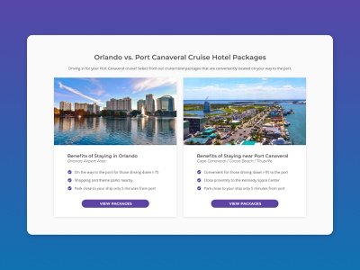 Staying in Orlando vs. Port Canaveral (info cards) cruise cards hotel booking travel desktop ui