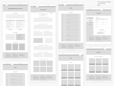 ADA Compliance Redesign - Lo-Fi Wireframes desktop wireframes ada compliance ui ux