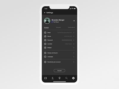 Daily UI 007 - Settings   ROAM: Your Personal Hiking Guide hiking settings dark mode mobile design app designers settings ui daily ui 007 dailyui